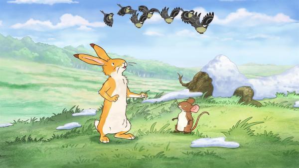 Der kleine Hase und die kleine Feldmaus machen sich auf die Suche nach dem Sänger des Frühlingsliedes. | Rechte: KiKA/SLR Productions Australia Pty.Ltd./Scrawl Studios Pte Ltd./hr/ARD