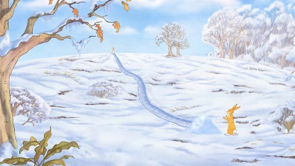 Der kleine Hase hat sich eine tolle Schneerutsche gebaut. | Rechte: KiKA/SLR Productions Australia Pty.Ltd./Scrawl Studios Pte Ltd./hr/ARD