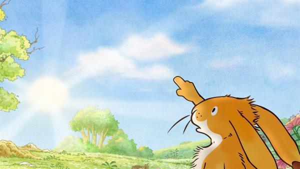 Der kliene Hase fragt sich, ob die Wolken ihn überhaupt hören können. Schließlich sind sie ziemlich weit weg, so hoch oben am Himmel.   Rechte: KiKA/SLR Productions Australia Pty.Ltd./Scrawl Studios Pte Ltd./hr/ARD