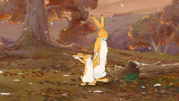 Der große Hase hat noch etwas zu erledigen, bevor er mit dem kleinen Hasen spielen kann. | Rechte: KiKA/SLR Productions Australia Pty.Ltd./Scrawl Studios Pte Ltd./hr/ARD
