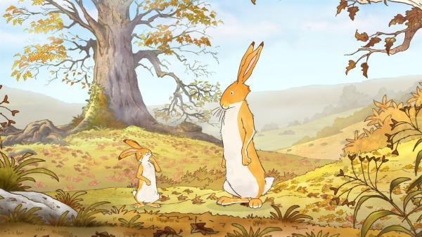 Der große Hase kann noch nicht mit dem kleinen Hasen spielen. Der Herbst neigt sich dem Ende zu und er hat noch etwas zu erledigen. | Rechte: KiKA/SLR Productions Australia Pty.Ltd./Scrawl Studios Pte Ltd./hr/ARD