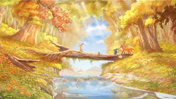 Der kleine Hase und seine Freunde sind auf der Suche nach einem ganz besonderen Herbstblatt.   Rechte: KiKA/SLR Productions Australia Pty.Ltd./Scrawl Studios Pte Ltd./hr/ARD