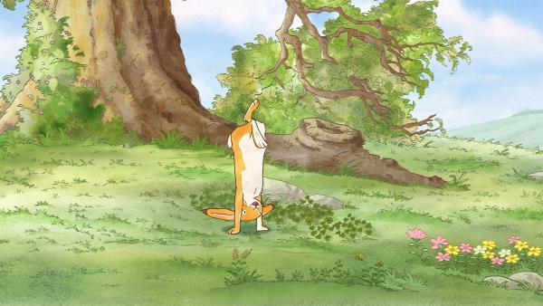Der kleine Hase tollt vergnügt auf der Wiese herum.   Rechte: KiKA/SLR Productions Australia Pty.Ltd./Scrawl Studios Pte Ltd./hr/ARD