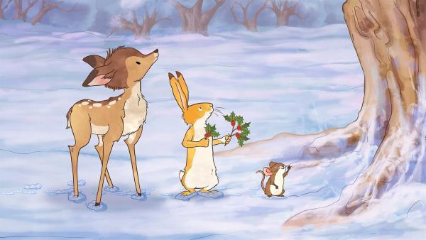 Das kleine braune Reh, der kleine Hase und die kleine Feldmaus machen sich auf die Suche, woher der Zweig stammt. | Rechte: KiKA/SLR Productions Australia Pty.Ltd./Scrawl Studios Pte Ltd./hr/ARD