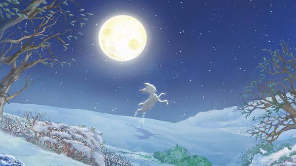Der kleine braune Hase traut seinen Augen kaum: im silbernen Licht des Mondes tanzt ein seltenes weißes Rehkitz. | Rechte: KiKA/SLR Productions Australia Pty. Ltd. / Scrawl Studios Pte Ltd.