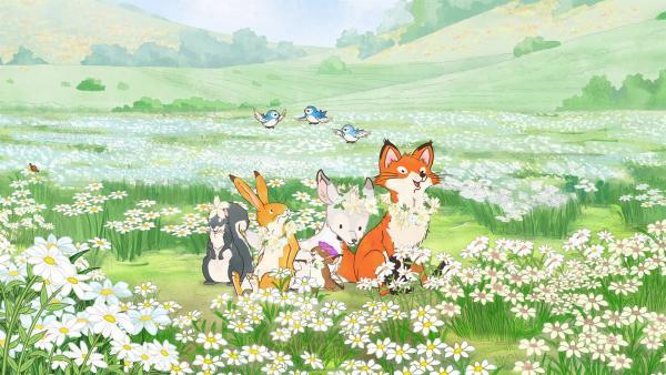 Das kleine weiße Reh und seine neuen Freunde feiern gemeinsam das Frühlingsfest. | Rechte: KiKA/SLR Productions Australia Pty. Ltd. / Scrawl Studios Pte Ltd.