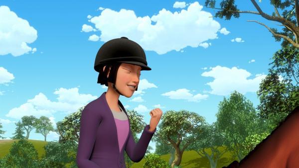 Tanja freut sich: Sie ist einen fehlerfreien Parcours geritten. | Rechte: ZDF/Wendy and Associated Characters (c) WPL 2012
