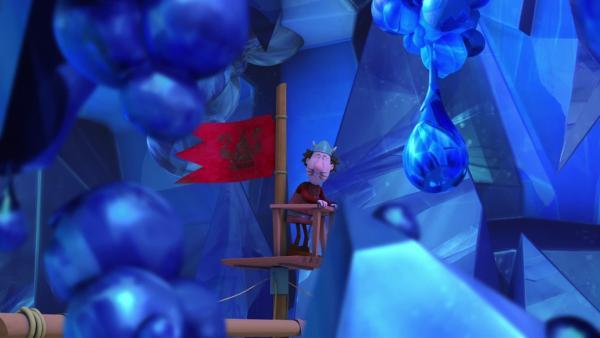Gorm, dem Ausguck, schwant Schlimmes in dieser Eishöhle.   Rechte: ZDF/studio100 media