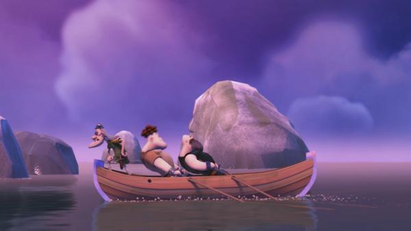 Olaf und seine Spießgesellen wollen das Wikingerschiff plündern.   Rechte: ZDF/studio100 media