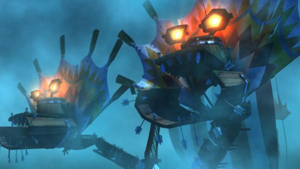 Mit einem furchterregenden Ungeheuer machen die Wikinger den Piraten Beine. | Rechte: ZDF/studio100media
