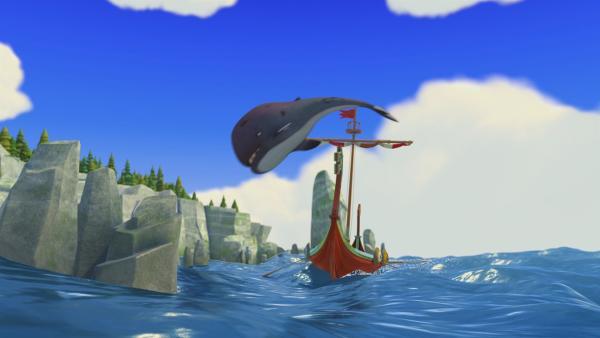Springt da etwa ein Wal über das Drachenboot?   Rechte: ZDF/studio100 media