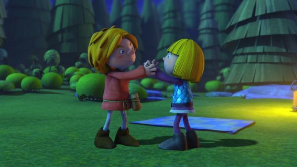 Wirkliche Freunde werden Wickie (re.) und Gilby (li.) wohl nie. | Rechte: ZDF/studio100media