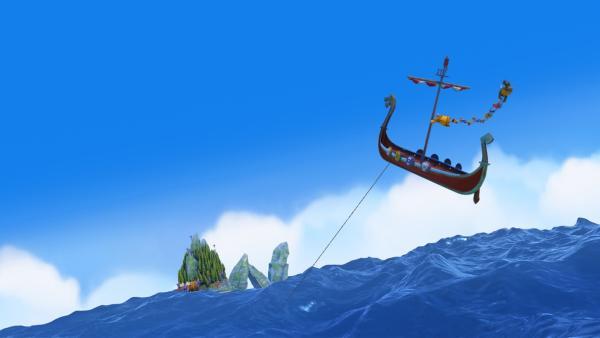 Bei so einem Sturm hebt das Drachenboot ab!   Rechte: ZDF/studio100 media