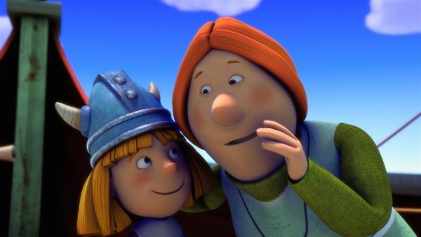 Wickie und Mama Ylva hecken einen raffinierten Plan aus.   Rechte: ZDF/studio100media