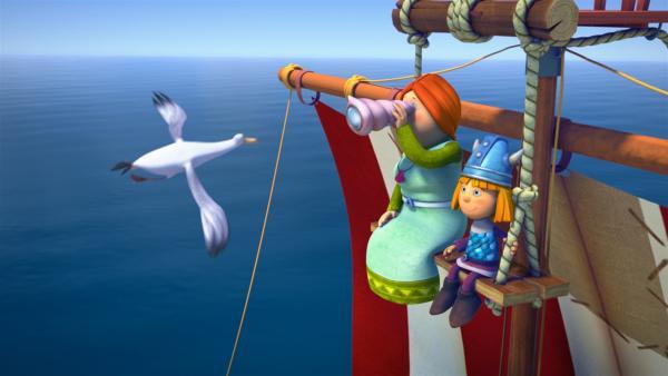 Halvar ist krank, und so ist heute Ylva Kapitän auf dem Drachenboot. | Rechte: ZDF/studio100media