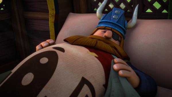 Halvar ist krank und muss das Bett hüten.   Rechte: ZDF/studio100media