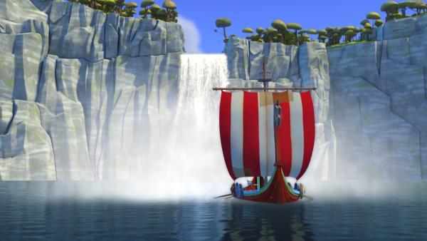 Wer hätte gedacht, dass unsere Wikinger sogar den gigantischen Wasserfall überwinden?   Rechte: ZDF/studio100 media