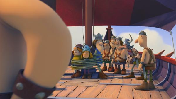 Wickie, Snorre und Tjure werden von Sven, dem Piraten, entführt.   Rechte: ZDF/studio100 media
