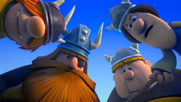Um ein wahrer Wikinger zu werden, gilt es Halvar, Snorre, Tjure und Faxe zu überzeugen.   Rechte: ZDF/studio100media