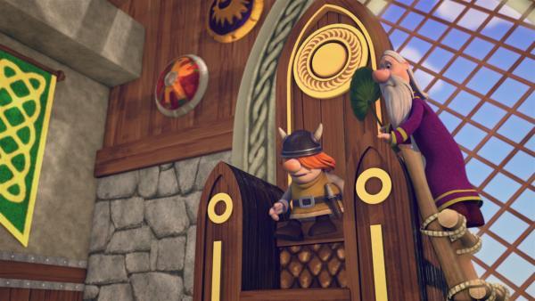 König Snorre residiert auf einem gigantischen Thron. | Rechte: ZDF/studio100media