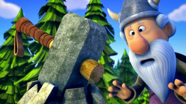 Urobe betrachtet Thors Hammer, der in einem Felsen feststeckt. | Rechte: ZDF