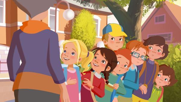 Die Kinder aus dem Möwenweg lernen ihre neue Lehrerin kennen. | Rechte: ZDF/WunderWerk
