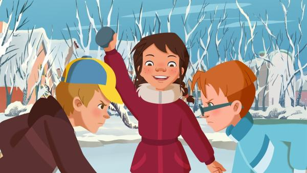 Tara gibt das Startzeichen für das Eishockeyspiel.   Rechte: ZDF/WunderWerk