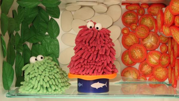 Wisch und Mop sitzen im Kühlschrank, der mit Lebensmitteln tapeziert ist   Rechte: Trikk17 Foto: Trikk17