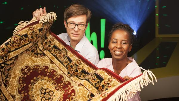 Shary und Ralph fragen sich: Was ist dran am fliegenden Teppich? | Rechte: WDR/Thorsten Schneider