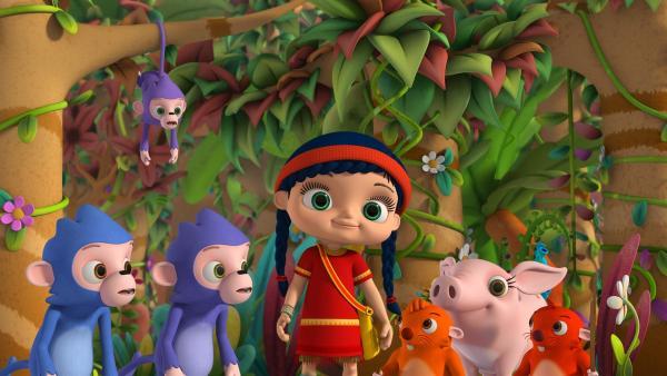 Wissper und die Tiere im Wald singen ein Schlaflied für den kleinen Bären Honey. | Rechte: ZDF/m4e