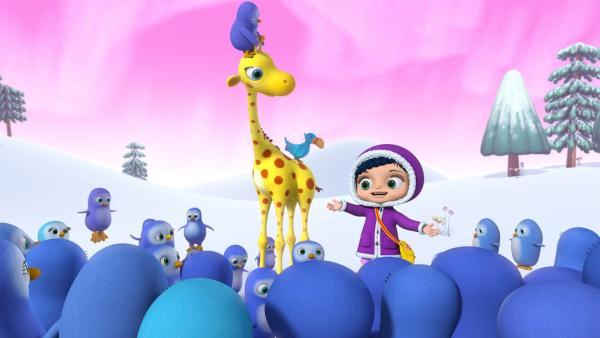 Wissper mit Giraffe Gertie und Vogel Otis bei den Pinguinen.   Rechte: ZDF/m4e