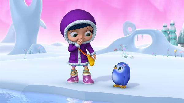 Wissper und das Pinguinmädchen Peggy reisen in die Arktis.   Rechte: ZDF/m4e