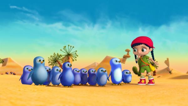 Wissper hat die Pinguine in die Wüste gerufen.   Rechte: ZDF/m4e