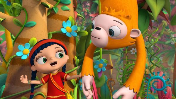 Orang-Utan Oskar schämt sich, weil er so lange Arme hat. Wissper will ihm helfen, sein Problem zu lösen.   Rechte: ZDF/m4e