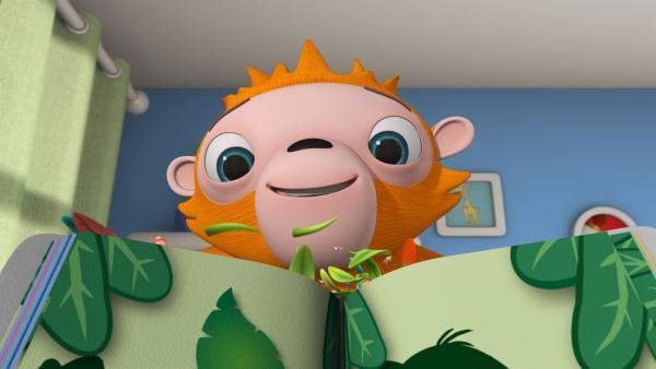 Orang-Utan Oskar taucht in Wisspers Kinderzimmer auf. | Rechte: ZDF/m4e