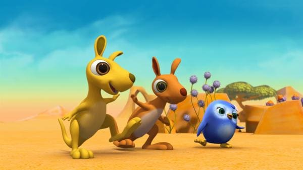 Die Känguru-Kinder lernen von Pinguinmädchen Peggy ein neues Spiel. | Rechte: ZDF/m4e
