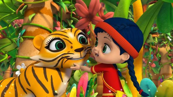 Wissper begrüßt Tigerdame Stripes im Regenwald. | Rechte: ZDF/m4e