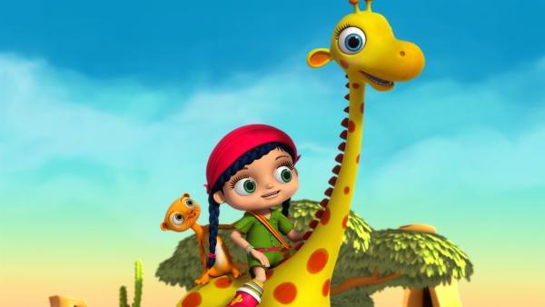 Wissper und Erdmännchen Monty überlegen, wie sie Giraffe Gertie helfen können | Rechte: ZDF/m4e