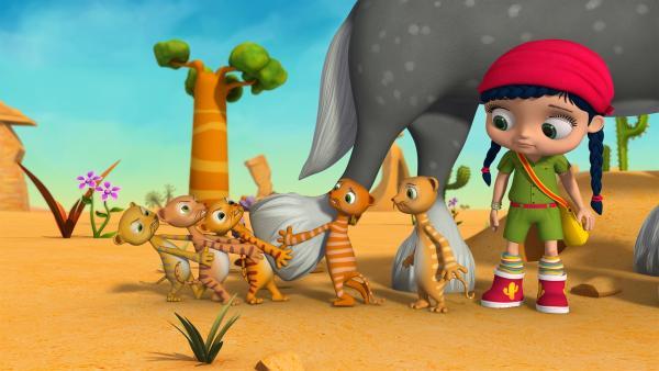 Die Erdmännchen versuchen, Pferd Herbert zu befreien. Wissper und Erdmännchen Monty schauen skeptisch zu. | Rechte: ZDF/m4e