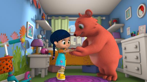Papa Bär bittet Wissper um Hilfe. Sein Sohn Honey will einfach nicht einschlafen. | Rechte: ZDF/m4e