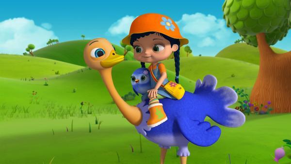 Strauß Ritchie bittet Wissper, ihm zu helfen. Er möchte fliegen können wie die Flamingos. | Rechte: ZDF/m4e