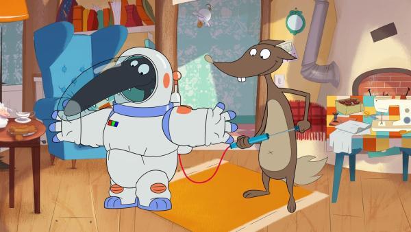Wolf will zum Mond reisen. | Rechte: KiKA/Samka Productions