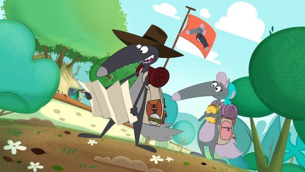 Wolfine begleitet Wolf auf der Entdeckungstour.   Rechte: KiKA/Samka Productions