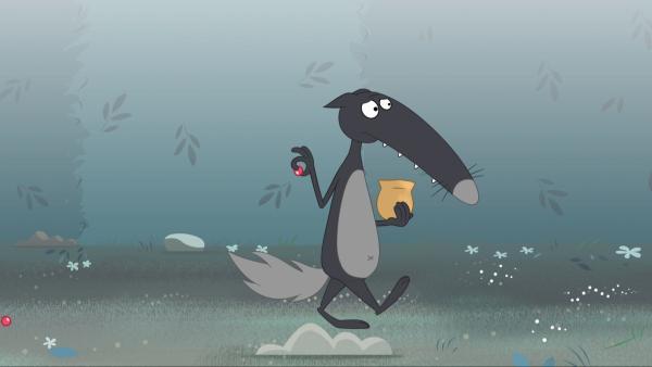 Wie der kleine Däumling legt Wolf eine Spur, allerdings aus Bonbons statt aus Kieselsteinen. | Rechte: KiKA/Samka Productions