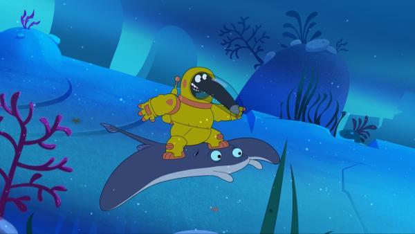 Am Meeresboden schließt Wolf Freundschaft mit einem Rochen. | Rechte: KiKA/Samka Productions