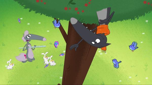 Wolf versucht, Wolfine mit einem Gedicht zu versöhnen. | Rechte: KiKA/Samka Productions