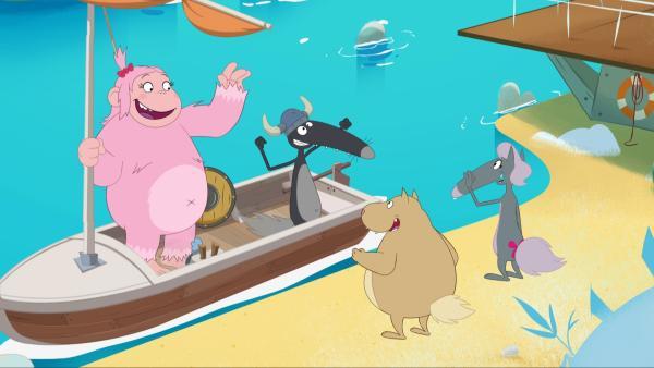 Die beiden unerschrockenen Wikinger wollen zur Nebelinsel segeln. | Rechte: KiKA/Samka Productions