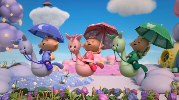 Die Wolkenkinder haben Sonnenschirme dabei. | Rechte: KiKA/Hoho Entertainment