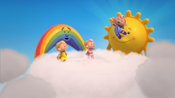 Endlich kann Baba Blau Wolkenhüpfen! Herr Sonne, Herr Regenbogen und die anderen Wolkenkinder freuen sich.   Rechte: KiKA/Hoho Entertainment