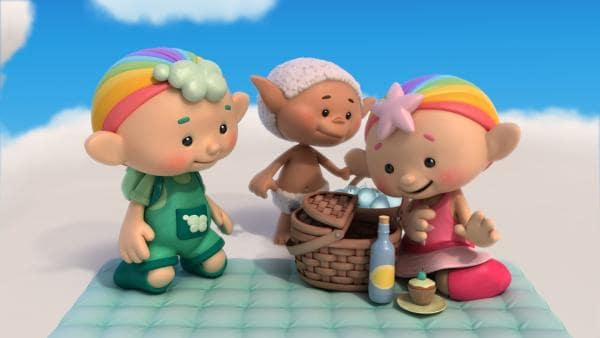 Baba Pink, Bobo und Baba Grün machen ein Picknick.   Rechte: KiKA/Hoho Entertainment